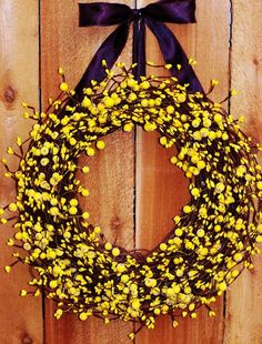 Fall Wreath-Fall Decor-LEMON YELLOW Berry Wreath-Door Wreath-Autumn Wreath-Country Chic-Primitives Country Decor-SCENTED #Christmas #Door #wreath www.loveitsomuch.com