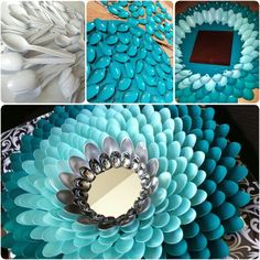 A cool chrysanthemum mirror is really fun to make and all you need is just these simple things:  Plastic spoons, spray paint, a piece of cardboard, a mirror, and a hot glue gun!