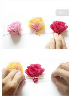 These instructions are to make a lei but if you space them differently and make longer strings, they'd make such a pretty garland!