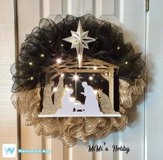 Christmas tree wreath christmas wreath with lights winter wreath deco mesh wreath festive front door wreath deco mesh christmas tree – ArtofitUnique and beautiful Nativity wreath Christmas - Salvabrani bestfriends christmas gifts, gifts for bestfri Mesh Christmas Tree, Christmas Wreaths With Lights, Christmas Nativity, Holiday Wreaths, Holiday Crafts, Christmas Holidays, Merry Christmas, Christmas Decorations, White Christmas