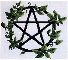 Pentacle Vines Cross Stitch Pattern - Lush foliage and dainty tendrils twine through the outer edge of a simple pentacle design. Design is 173 stitches wide by 149 stitches high.