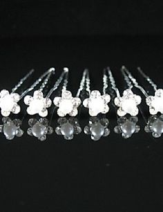 Gorgeous Crystals Wedding Bridal Pins/ Flowers,6 Pieces