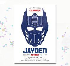 Optimus Prime Invitation Transformer birthday Invite