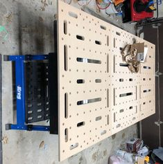 : clamping and top hole pattern – Garage Organization DIY Woodworking Workbench, Woodworking Workshop, Woodworking Shop, Paulk Workbench, Workbench Plans, Wooden Shelves, Rope Shelves, Woodworking Accessories, Assembly Table