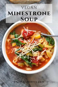 This easy and delicious vegan/vegetarian minestrone soup is created with a rich tomato base broth, lots of veggies, navy beans, and fresh spinach!  Hearty and irresistible!  #veganrecipes