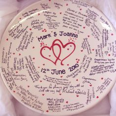 Pottery Ideas · what I want to do as my guest book. If people write on it and  sc 1 st  Pinterest & Paint your Own Pottery - Wedding Signature Plate | Pottery ...