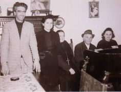 """Padre Pio's Father & Nieces: May, 1945  From """"Left to right: the Count, Padre Pio's Niece, Mary Pyle, Padre Pio's Father, Padre Pio's Niece""""."""