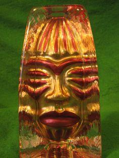 SEA Glasbruk Kosta Sweden Renate Stock art Glass Skulpure Mask Sun Decor 6 inch #SEAGlasbrukKosta #RenateStock
