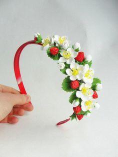 Headband strawberry от FlowerFromEugene на Etsy