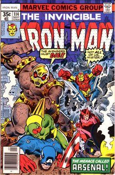 Iron Man Arsenal & the Avengers Appearance Marvel Comics Superheroes, Marvel Comic Books, Comic Book Heroes, Comic Books Art, Comic Art, Marvel Heroes, Marvel Avengers, Tony Stark, Iron Man Comic Books