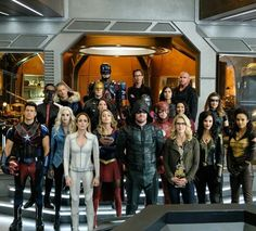 The cast of Crisis on Earth X. Can't wait til Monday! :D |CW|DCTV|Arrow|The Flash|Supergirl|Legends of Tomorrow|