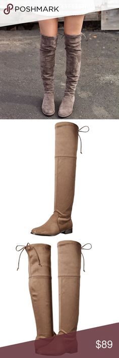 "Flat Over-The-Knee Slouch Boot These are fabulous! These boots fit perfectly, even without a side zipper! The color is the perfect taupe, and I personally like the small sole, so I don't feel like I'm just walking with a tall sock on my leg. Microfiber Shaft measures approximately 22"" from arch Heel measures approximately 0.75"" Boot opening measures approximately 16"" around Over the knee boot Urban Outfitters Shoes Over the Knee Boots"