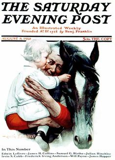 Grandfather & Child with Horse by Leslie Thrasher,  August 8, 1914, The Saturday Evening Post.
