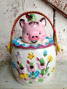 Vintage Pig jar canister with handle by LititzCarriageHouse, $22.00
