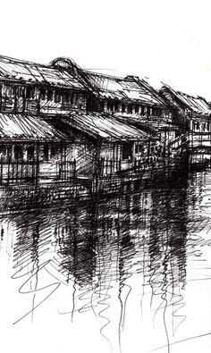 Wuzhen I » Ian Murphy Sketchbooks Landscape Drawings, Landscape Paintings, Art Drawings, A Level Art Sketchbook, Scribble Art, Scenery Background, Black And White Drawing, Urban Sketching, Pen Art