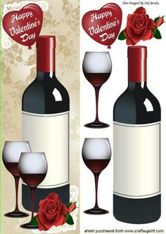 Wine and roses for my valentine tall DL on Craftsuprint - Add To Basket!