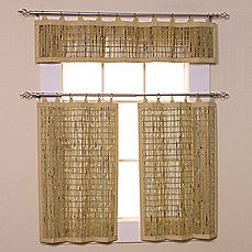 image of Easy Glide All-Natural Bamboo Ring Top Window Curtain Tiers