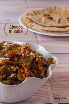 Ghevda Ki Sabzi-Ghevdyachi Bhaji - Kali Mirch - by Smita Indian Vegetarian Dishes, Indian Veg Recipes, Ethnic Recipes, Green Veggies, Vegetables, Veg Dishes, Vegan Curry, Lunch Box Recipes, Food Videos