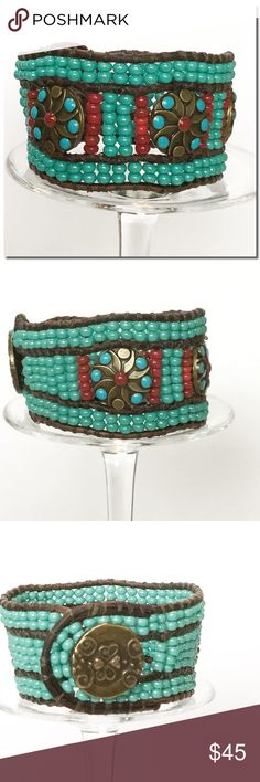 Handmade 3 Row Cuff Bracelet Beautiful  3 Row Beaded Leather Cuff Bracelet, Featuring turquoise  and Red Czech glass Beads and Decorative Accent Beads.  All beads are handwoven onto 2mm brown leather cord. A brass button is used for closure. Finished size  is 8 1/2 inches long and 1 1/2 inches wide.   Only 1 available. Handmade Jewelry Bracelets