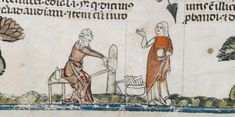 Wool combing.The Decretals of Gregory IX, Royal MS 10 E IV, c 1300-c 1340