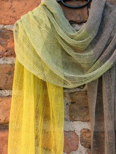 Linen Flax Scarf Shawl Yellow Citrine and Natural Grey Multicolored on Etsy, $78.00