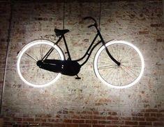 Lampe Neon Bicycle at Houndstooth Road in Decatur, Georgia Unique Lighting, Neon Lighting, Interior Lighting, Home Lighting, Lighting Design, Lighting Ideas, Kitchen Lighting, Outdoor Lighting, Basement Lighting