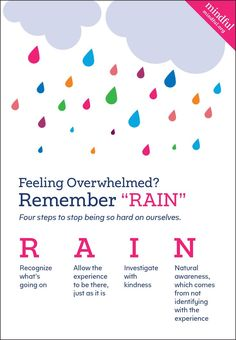 How to be more mindful. Feeling mentally stuck? Use RAIN as a means to bring out your natural compassion and mindfulness. This article is beautiful and describes my meditations perfectly.: