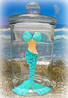 Mermaid Nautical Beach Canister Kitchen Decoration Beach House Decor Housewares Container Beautiful Mystical Glass Storage