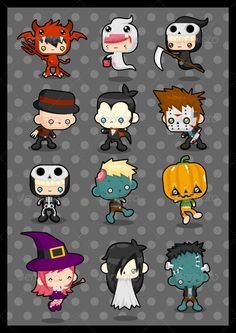 Kawaii Costume Pack: Halloween  #GraphicRiver         12 cute characters wearing various halloween costume