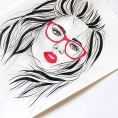 Drawing with black ink. Hot woman with cute pink glasses.