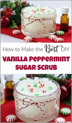Vanilla peppermint sugar scrub is easy to make yourself and makes the perfect gift for the holidays. Make your own DIY peppermint sugar scrub quick and easy. Homemade sugar scrub made with essential oils are the best. Sugar Scrub Diy Peppermint, Sugar Scrub Homemade, Sugar Scrub Recipe, Diy Body Scrub, Diy Scrub, Bath Scrub, Cool Diy, Sugar Hand Scrub, Vanilla Sugar Scrubs