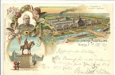 1897 GERMAN Posted Exhibition(Ausstellung) post card  for Leipzig, inset picture of Wilhelm I w/2 cupids, Exhibition bullseye cancel, UDB by BrickorBrack on Etsy