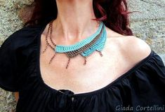 Items similar to Ethnic Tribal Necklace, Statement Necklace, Asymmetric Necklace, N . Fiber Art Jewelry, Rope Jewelry, Macrame Jewelry, Jewelry Art, Collier Turquoise, Turquoise Necklace, Tribal Necklace, Crochet Necklace, Crochet Accessories