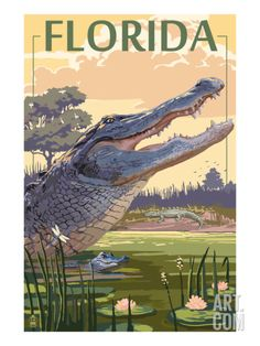 Florida - Alligator Scene Art Print by Lantern Press at Art.com