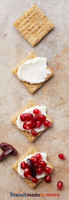 You gotta try ricotta, with olives and sweet pomegranates on a Cracked Pepper Triscuit. The olipomcottascuit is where we took it. Where you take it is entirely up to you. Check out our new Triscuit boards for more snacking inspiration.