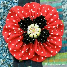 Poppy fabric flower pattern for purse