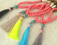 N692 Long Tassel Necklace Wood beads Turquoise by AdaraPenina