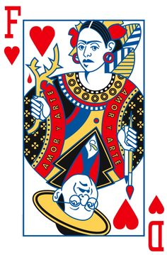 Frida and Diego Playing Card.  Queen-King of Hearts by Ken Carbone ...