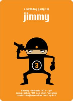 Announce your party in style with this cute modern ninja themed ...