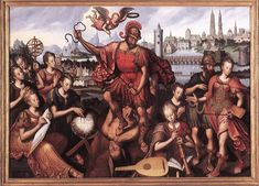 dutch-and-flemish-painters:  Antoon Claeissens - Mars Vanquishing Ignorance - 1605 oil on canvas, Height: 197.5 cm (77.8 in). Width: 279 cm (109.8 in). Groeningemuseum, Bruges, Belgium