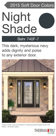Therma Tru Smooth Star Fiberglass Door Painted Black Fox With Saratoga Decorative Glass