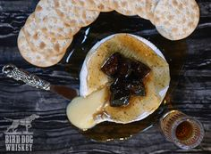 Baked Brie with Peach Bird Dog Whiskey Fig Glaze  Makes 6-8 servings *To cut down on time, you can make fig glaze up to two days before. Store it in refrigerator 1 (7-ounce) Brie wheel 1 (11-ounce) jar fig preserves 3 tablespoons Bird Dog Peach Whiskey 1/4 cup chopped fresh or dried figs Crackers Bread Making, How To Make Bread, Bird Dog Whiskey, Peach Whiskey, Whiskey Recipes, Salt Pork, Dried Figs, Baked Brie, Just Peachy