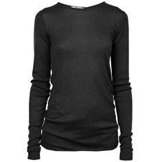 ALEXANDER WANG T Jersey Roll Knit LS Black ($285) ❤ liked on Polyvore featuring tops, sweaters, shirts, blusas, long sleeve sweater, crew sweater, shirt sweater, long sleeve shirts and jersey sweater