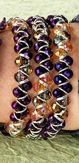 Wrapped Jump Ring & Crystal ZigZag Bracelet