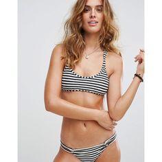 Billabong Stripe Crop Bikini Top ($43) ❤ liked on Polyvore featuring swimwear, bikinis, bikini tops, multi, stripe bikini, swim suit tops, bikini cover up and striped bikini top
