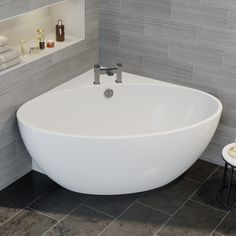 Affine Montpellier Freestanding Corner Bath With Built-In Waste Modern Bathroom, Small Bathroom, Master Bathroom, Small Bathtub, Bathroom Tiling, Downstairs Bathroom, Bathroom Interior, Corner Tub, Architecture