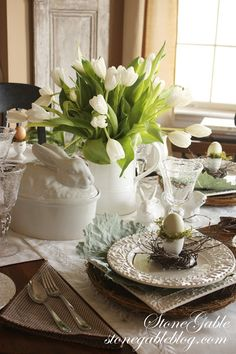 Easter table centerpiece- maybe place the nest egg on a separate, small dish for easy removal for eating.