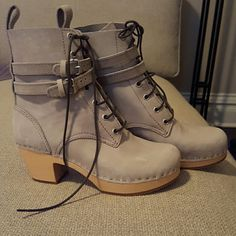 Swedish Hasbeens Boots Gray  boots with wooden geel, rubber soles, black laces, two straps with silver hardware, pull on loop at back, size 37, never been worn, perfect condition,  bought from revolve Swedish Hasbeens Shoes Ankle Boots & Booties