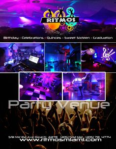 Ritmos Party Venue Private Discotheque - Party Venue Glow & Flashing Favors Party for all Ages Event Designer Cool Glow Venue Photo Booth RTM Ultra Club Hora Loca Party Entertainment 5911 NW 102 Ave Doral Fl 33178 Ph: (305) 718-4774  / (305) 502-1132 ritmosvenue@gmail.com    Call for an appointment and visit us using  code: Anmar, for Savings