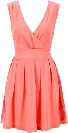 CORAL CHIFFON V-NECK DRESS http://pussycatlondon.com/new-arrivals/coral-chiffon-v-neck-dress.html